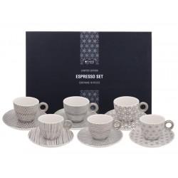 Zestaw do espresso - 6 filiżanek ze spodkami i łyżeczkami - Platinum/ TOKYO
