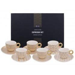 Zestaw do espresso - 6 filiżanek ze spodkami i łyżeczkami - Gold/ TOKYO