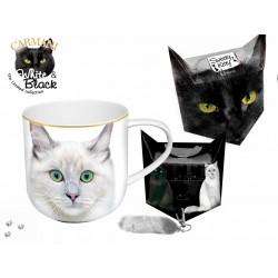 Kubek - biały kot  + pudełko z ogonkiem 017_0023
