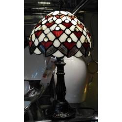 Lampa witrażowa mała - perłowo-czerwony abażur
