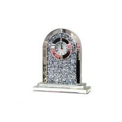 Kominkowy LUSTRZANY zegar Sacra z kryształkami