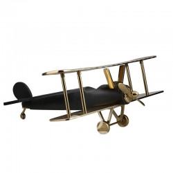 Samolot dwupłatowy - czarno-złoty - Figurka dekoracyjna C5025546