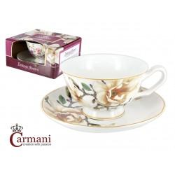 Filiżanka ze spodeczkiem- Biała magnolia- Carmani 840-2300