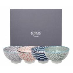 Zestaw czterech misek do ryżu - Geo Eclectic Giftsets / TOKYO