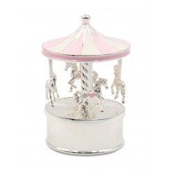 Karuzela pozytywka z masy perłowej, różowa, koniki