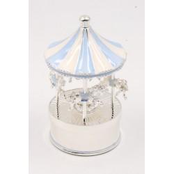 Karuzela pozytywka z masy perłowej, niebieska, koń 473-3402